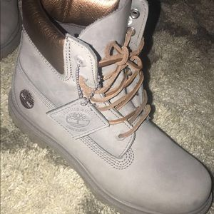 ecc8298d24c Timberland Shoes - Womens grey and rose gold timberlands size 8.5